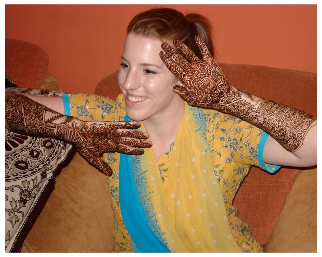 Colleen's hands with beautifully designed Mehndi