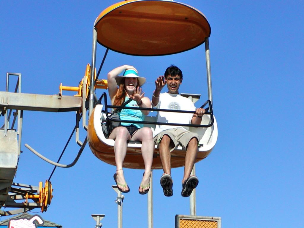 Colleen Mahal with Hubby at Santa Cruz Beach Boardwalk