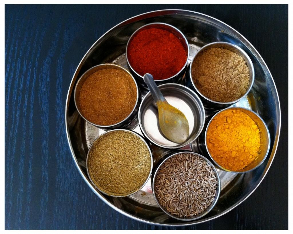 Indian style spice box (masala dabba in Hindi)