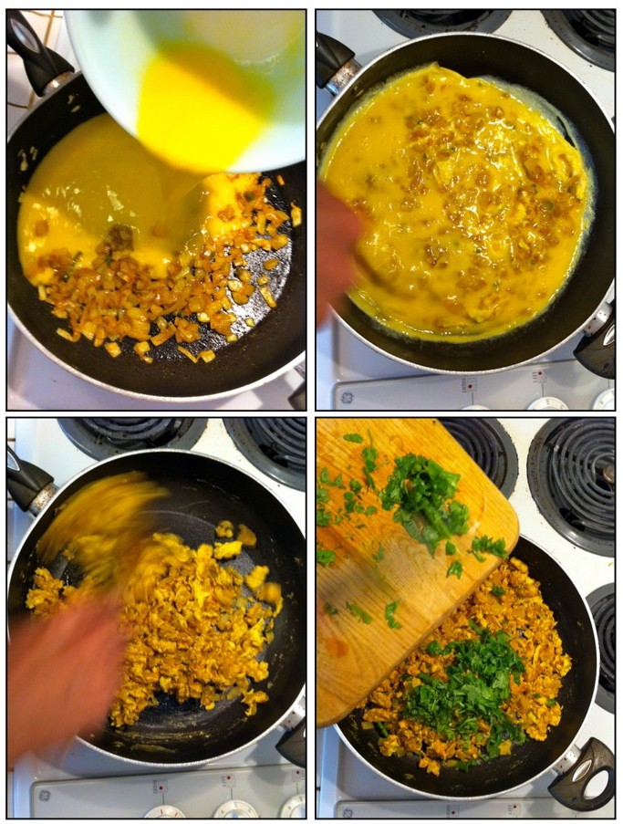 Garnish The Eggs With Chopped Cilantro Adding Into The Pan And Mixing In
