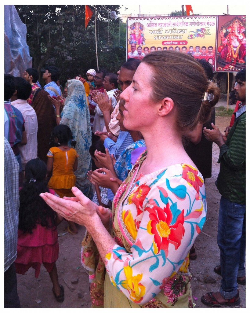 Colleen having joined the final puja before the procession begun