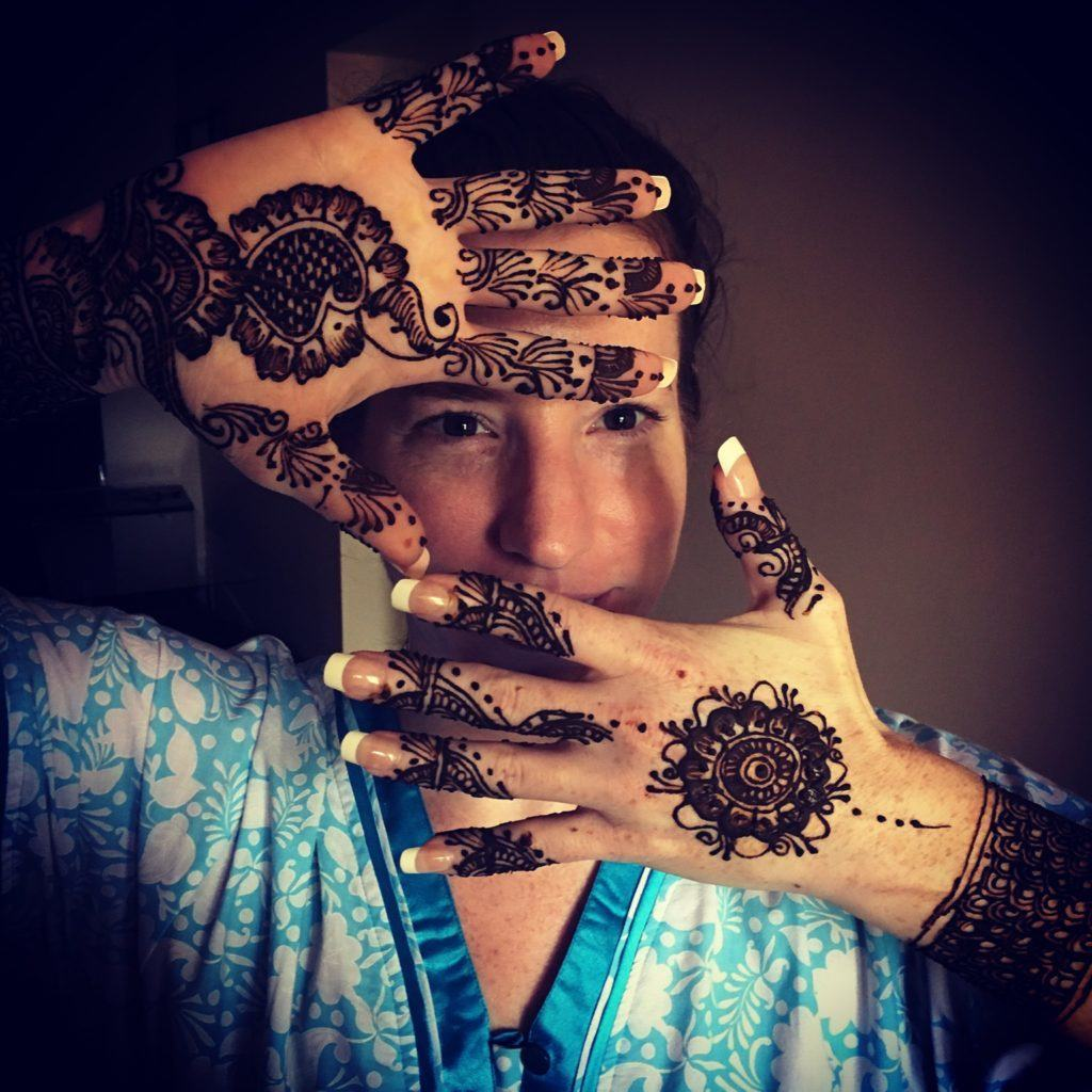 Mrs. Mahal with beautifully drawn Mehendi
